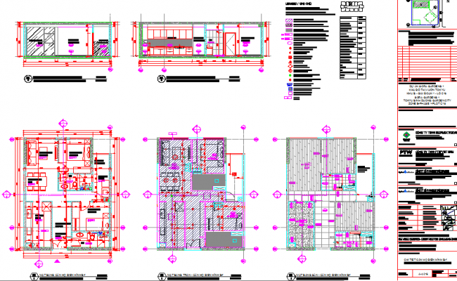 Furniture layout of an apartment with elevations.