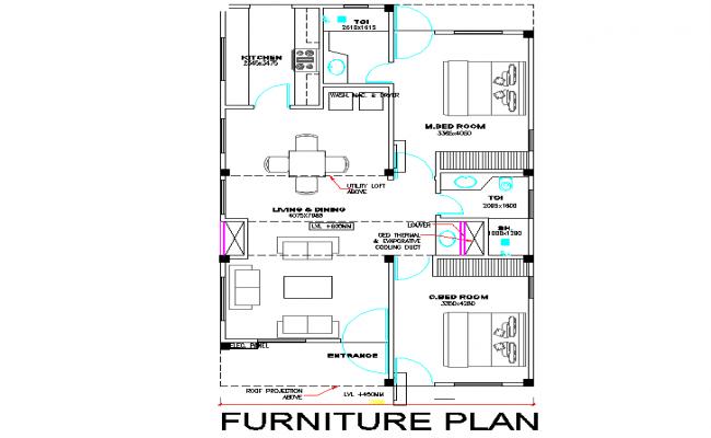Furniture layout plan detail dwg file