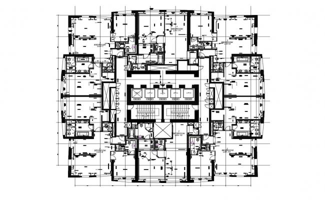 Furniture layout plan of a residential apartment in dwg file