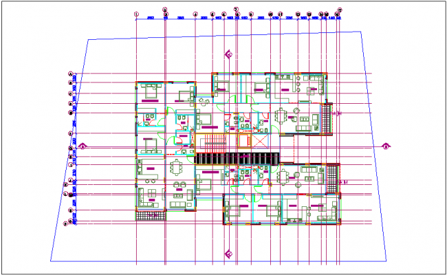 Furniture plan design view with furniture view dwg file