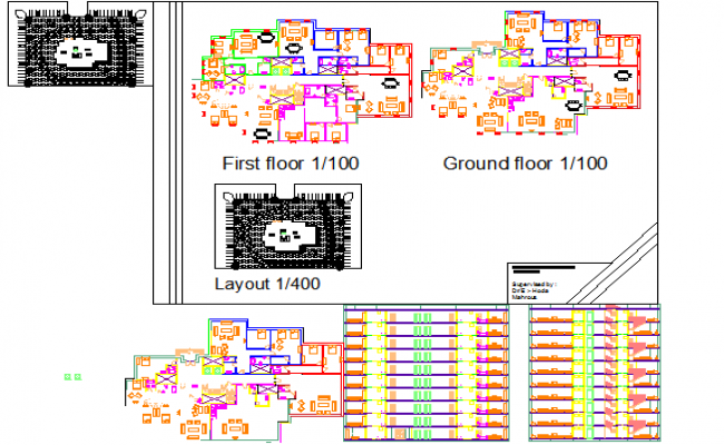 Furniture plan of ground and first floor