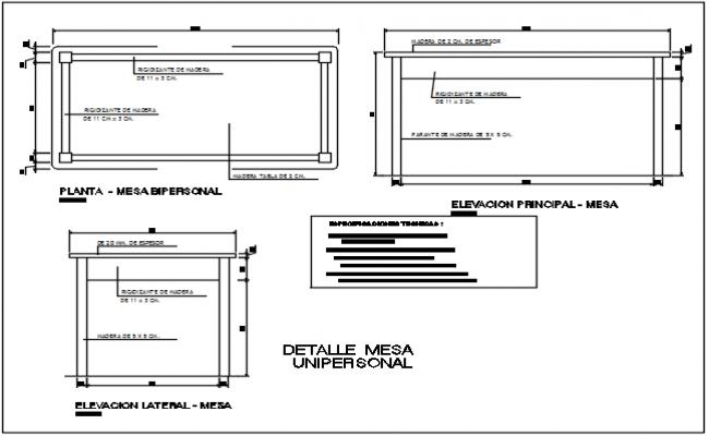 Furniture table plan detail dwg file
