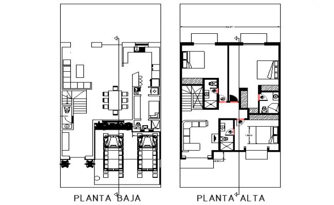 Furniture top view layout plan