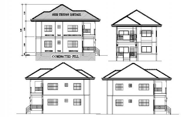 G+1 Bungalow Design Elevation 2d CAD drawing