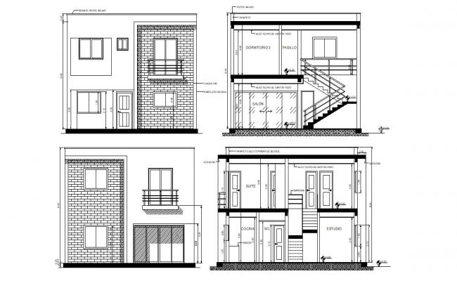 G+1 Bungalow Elevation and Section AutoCAD drawing