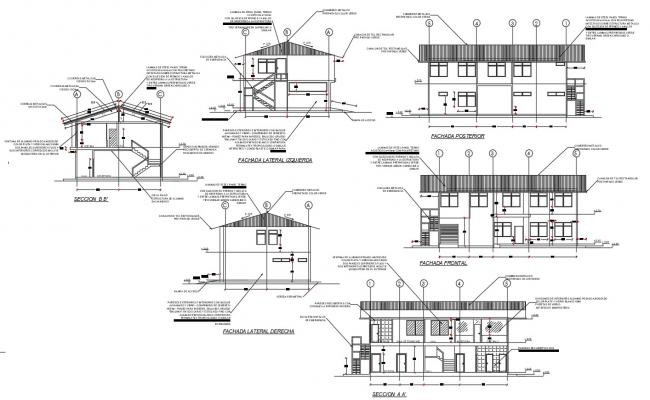 G+1 Commercial Building Elevation and Section CAD Drawing