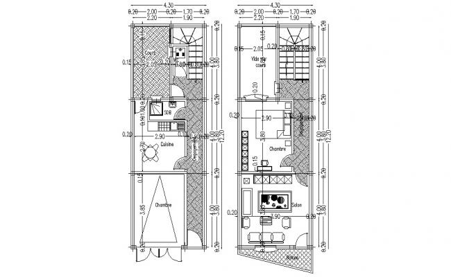 G+1 Furnished House Floor Plan AutoCAD Drawing