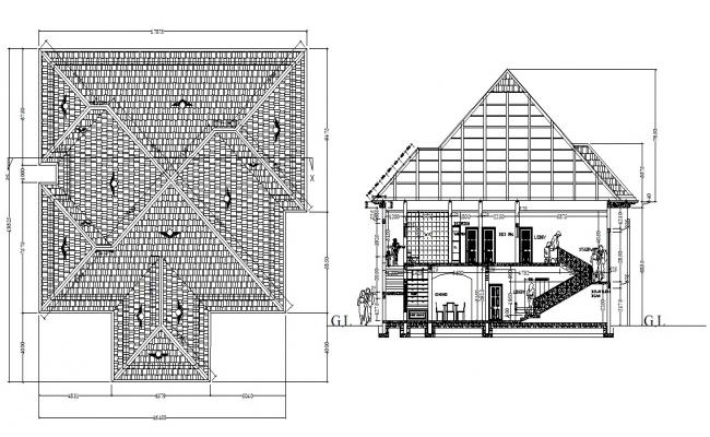 G+1 House Section Design AutoCAD drawing