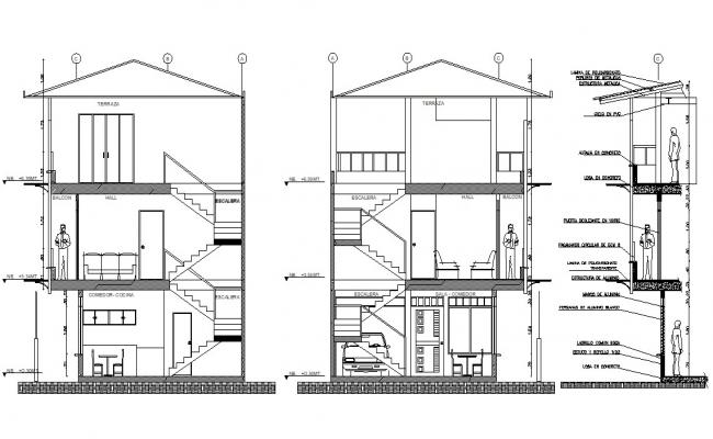 G+3 Bungalow Section CAD Drawing