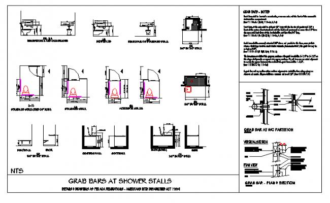 GRAB BARS AT SHOWER STALLS DESIGN DRAWING