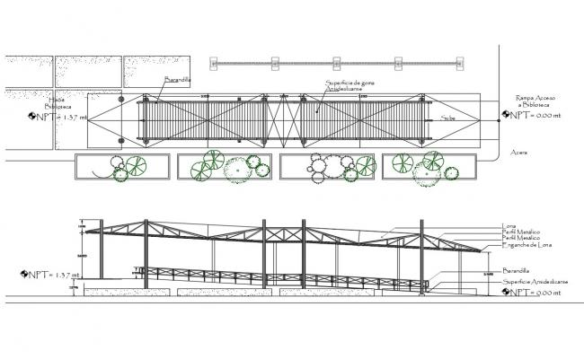 Gang-plank ramp elevation, section and constructive structure details dwg file