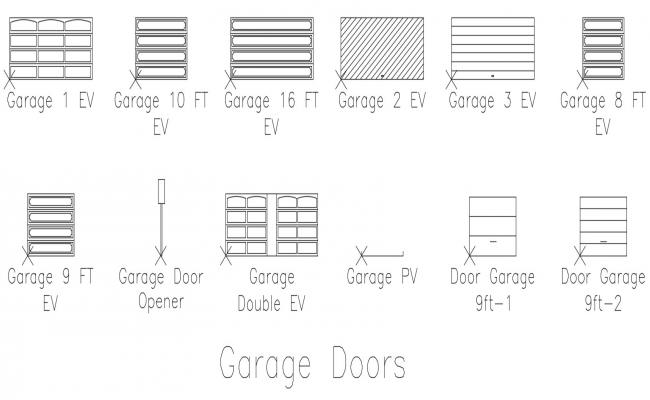 Garage Doors CAD Block