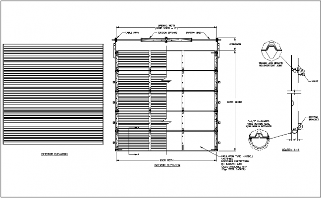 Garage Door Design With Exterior And Interior View Dwg File