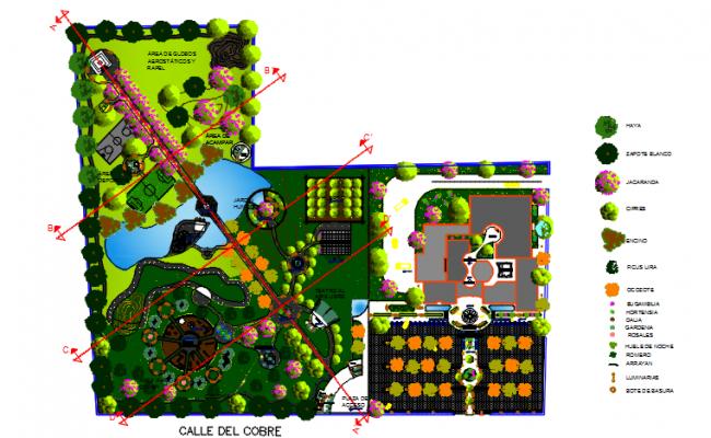 Garden landscaping detail dwg file