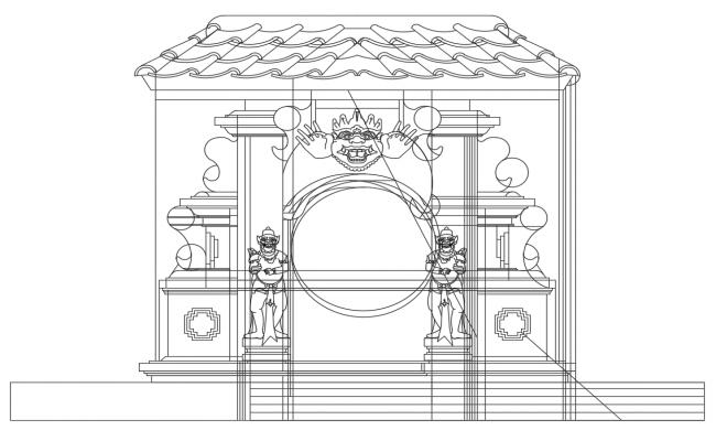 Garden theme gate elevation cad drawing details dwg file