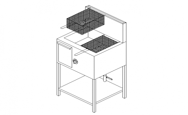 Gas Fryer isometric 3d detailing