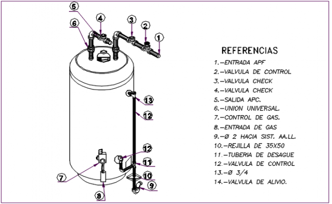Gas cylinder elevation detail dwg file
