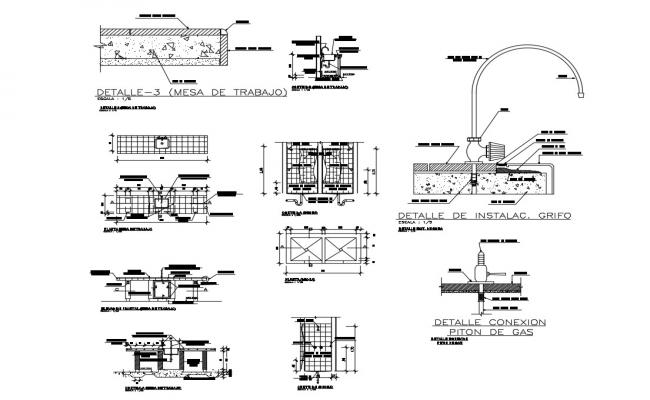 Gas installation and plumbing details dwg file