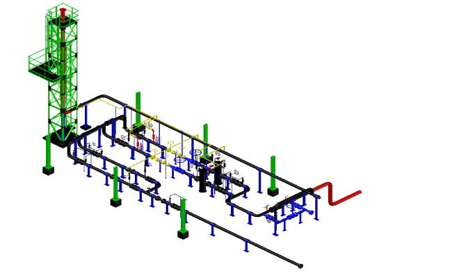 Gas metering plan detail dwg file.