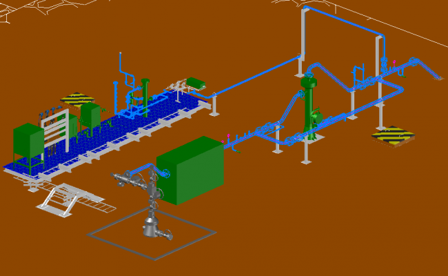 Gas oil well 3 D plan layout file