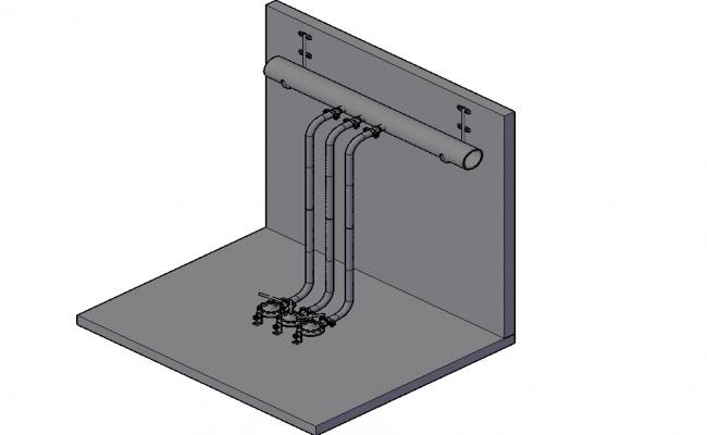 Gas regulators installation 3 D plan detail dwg file