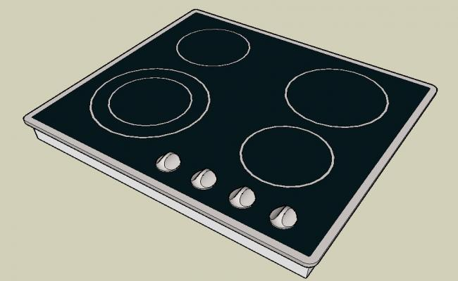 Gas stove 3d block cad drawing details dwg file