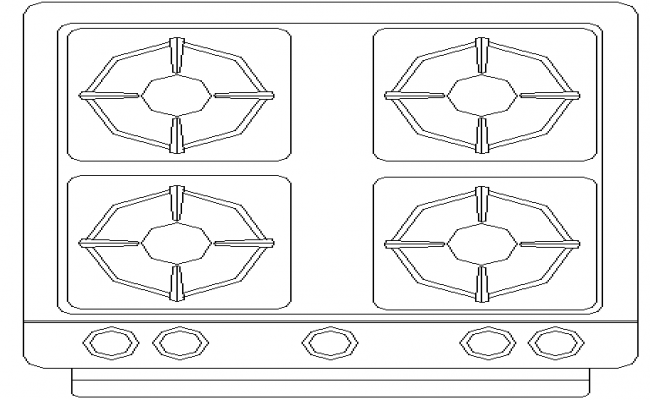 4 Burner Gas Stove In DWG File