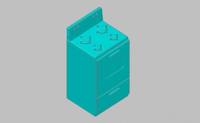 Gas stove with kitchen cabinet 3d drawing details skp file