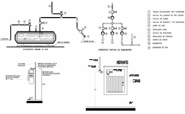 Gas tank accessories elevation detail dwg file