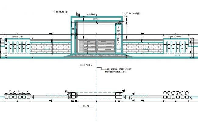 Gate With Compound Wall Design DWG