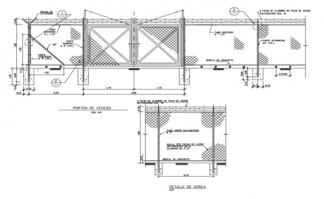 Gate and fence section and constructive structure details dwg file