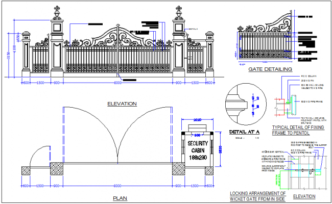 Gate Design View With Elevation And Plan View With
