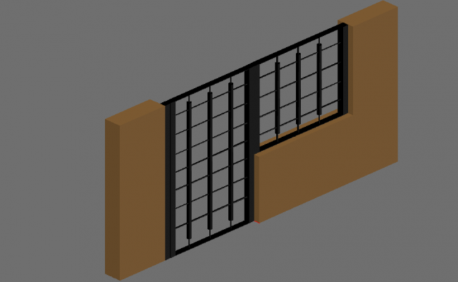 Gate door design with wall view
