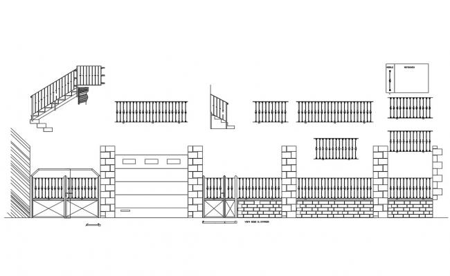 Gate elevation, fence elevation and structure auto-cad details dwg file