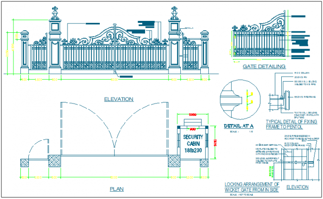 Gate elevation,plan and detail view dwg file