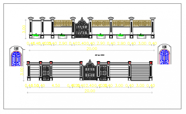 Gate elevation of garden with perimeter fence details dwg file