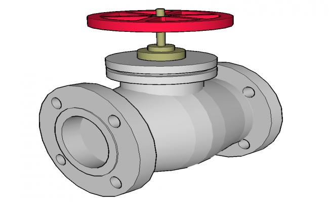 Gate valve detail 3d model sketch-up file