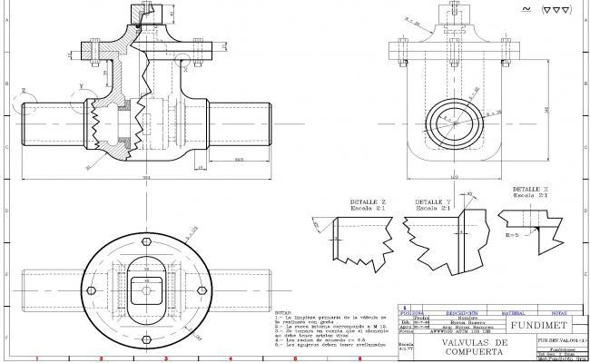 Gate valve detail autocad file