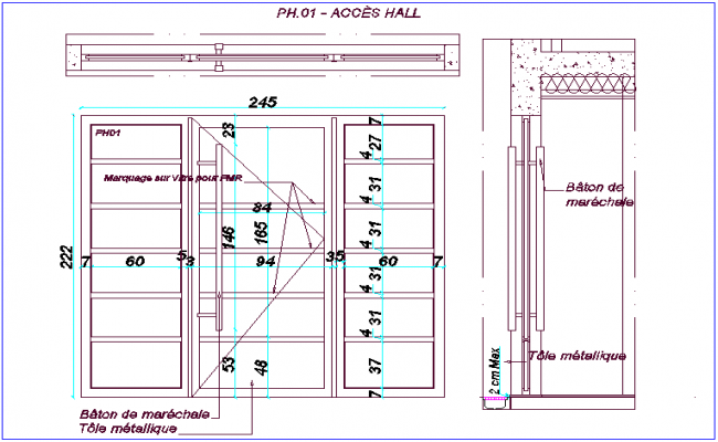Gate way to hall of door design with side view dwg file