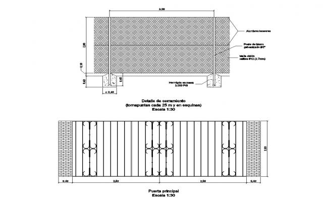Gate with fence elevation and section cad drawing details dwg file