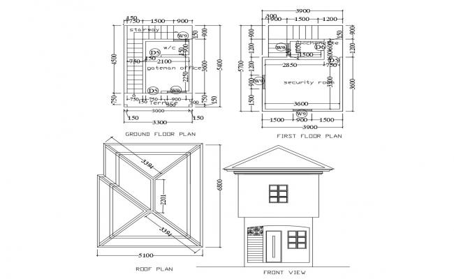 Gatehouse with elevation in autocad
