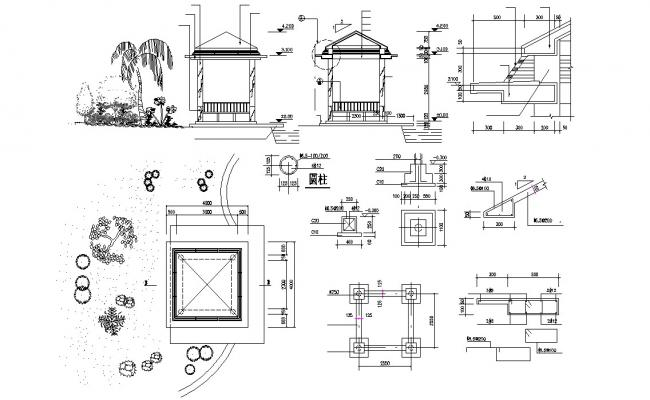 Gazebo Construction CAD Drawing