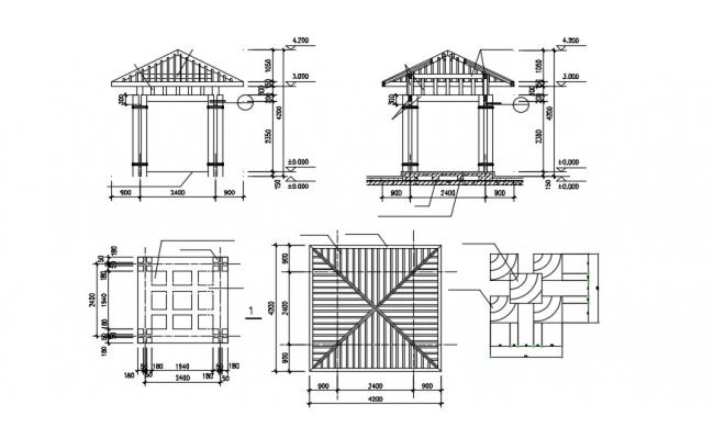 Gazebo Design Plan and Elevation CAD Drawing