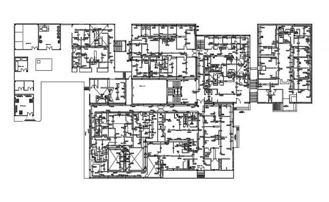 General Hospital Floor Plan In AutoCAD File