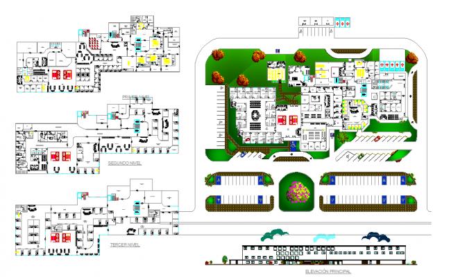 General Hospital Floor Plan Elevation Section Design