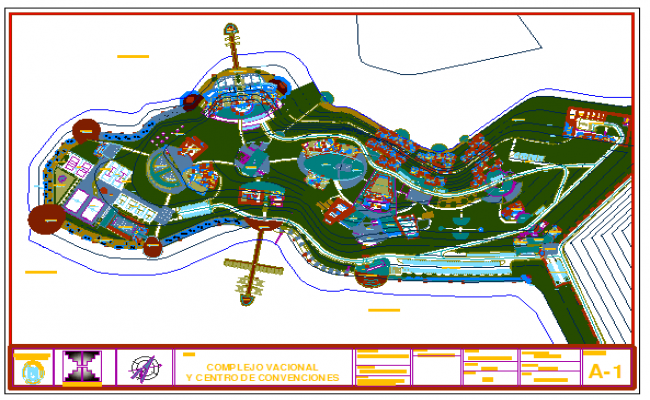general landscaping design layout of holiday complex and convention center