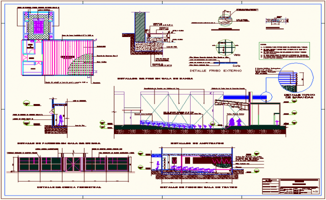 General architectural detail of education building dwg file