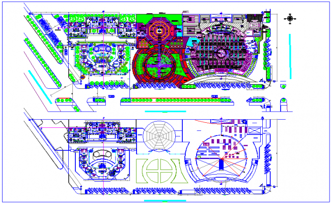 General distribution plan of first and second floor for commercial complex dwg file
