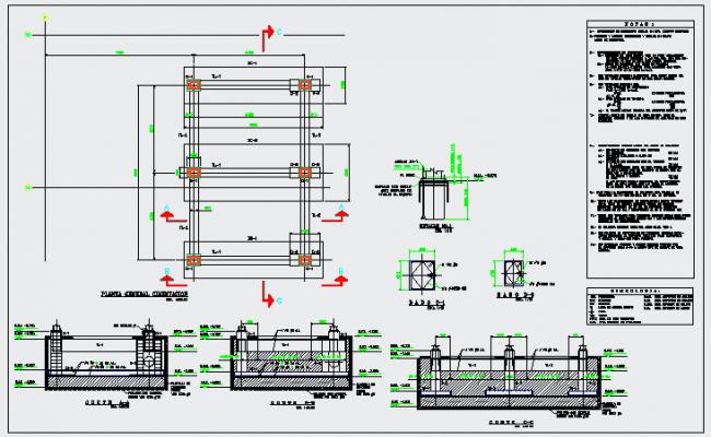 General foundation plan design of Tower for trash design