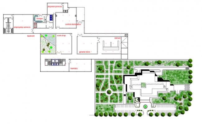 General hospital plan detail dwg file.